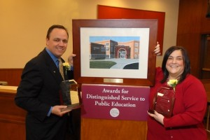 Steve and Laurie Augustino received Awards for Distinguished Service to Public Education